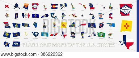 Flagged Maps Of U.s. States, All States Of United States Of America Sorted Alphabetically. Vector Ma