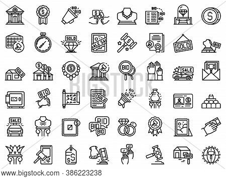 Auction Icons Set. Outline Set Of Auction Vector Icons For Web Design Isolated On White Background