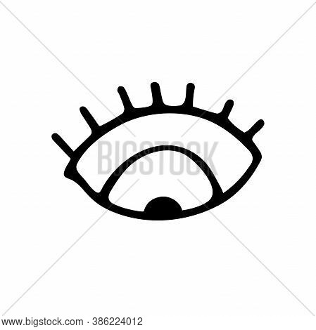 Hand Drawn Black Outline Eye With Eyelashes Isolated On White Background. A Symbol Of Attention, Tho