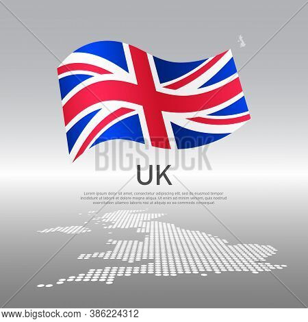Uk Wavy Flag And Mosaic Map On Light Background. Creative Background For The National British Poster