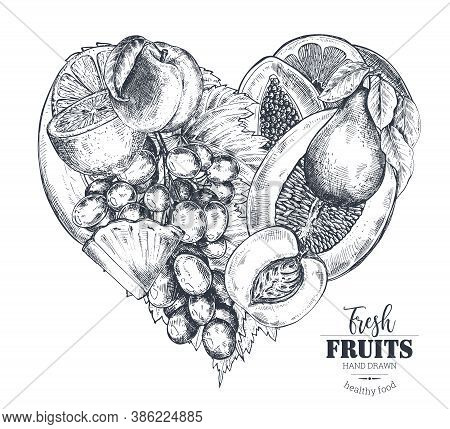 Vector Illustration Of Heart With Hand Drawn Vector Fresh Fruits In Sketch Style.