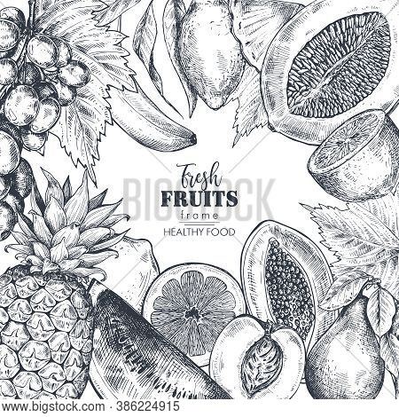 Frame With Hand Drawn Vector Fresh Fruits In Sketch Style. Square Border Composition.