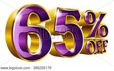 65% Off - Sixty Five Percent Off Discount Gold And Violet Sign. Vector Illustration. Special Offer 6
