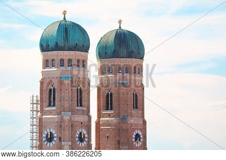 Frauenkirche Two Towers With Horology . Famous Cathedral In Munich