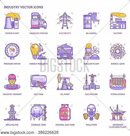Color Line Energy Industry Flat Icon Set | Vector Fills (filled Outline) / Stroke Pixel Perfect Illu