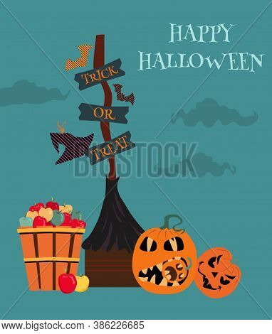 Halloween Party Invitation Or Greeting Card With Traditional Symbols. Witch's Broom With Wood Signs,