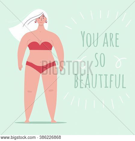 A Beautiful Plump Woman In A Swimsuit Stands In Full Growth. Concept Of Body Positivity, Self-love,