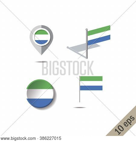 Map Pins With Flag Of Sierra Leone - Vector Illustration