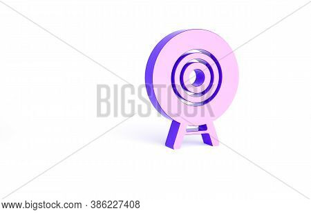 Purple Target Sport Icon Isolated On White Background. Clean Target With Numbers For Shooting Range