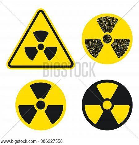 Yellow And Black Radioactive Radiation Warning Icon Symbol Shape. Atomic Energy Nuclear Dangerous Ca