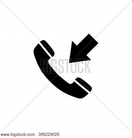 Incoming Call, Phone Handset With Arrow. Flat Vector Icon Illustration. Simple Black Symbol On White