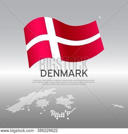 Denmark Wavy Flag And Mosaic Map On Light Background. Creative Background For Denmark National Poste