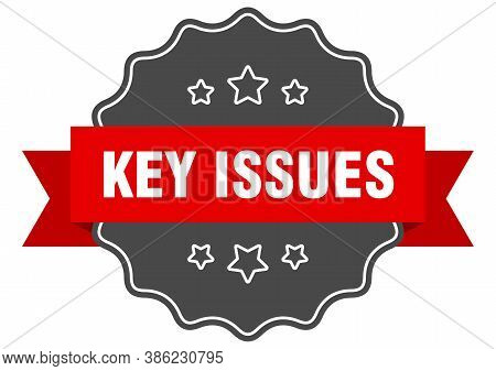 Key Issues Label. Key Issues Isolated Seal. Sticker. Sign
