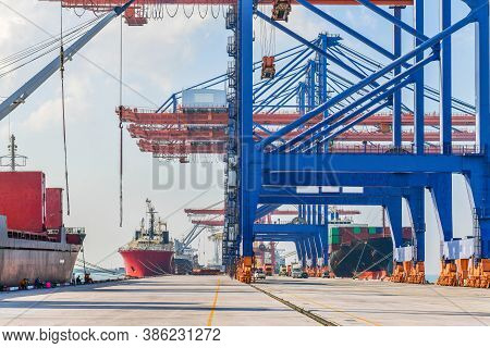 Industrial Logistics And Transportation Of Truck In Container Yard For Logistic And Cargo Business I