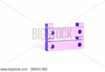 Purple Wooden Box Icon Isolated On White Background. Grocery Basket, Storehouse Crate. Empty Wooden