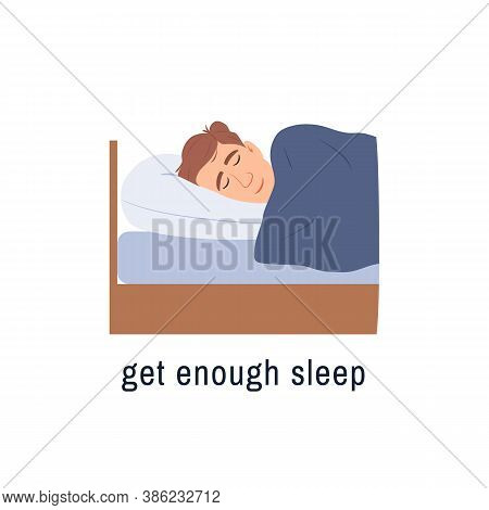 Sleeping Man Flat Icon Isolated On White Background. Get Enough Sleep Concept. Male Person Sleeps In