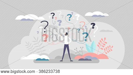 Business Decision Making Doubt About Options Confusion Tiny Person Concept. Choice About Company Wor