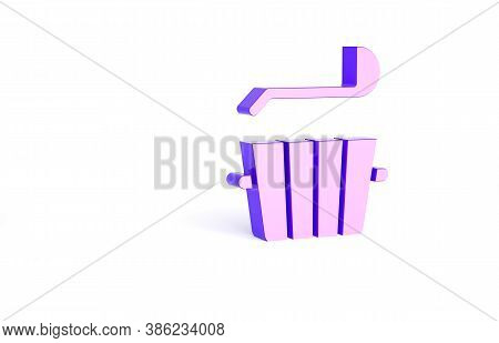 Purple Sauna Bucket And Ladle Icon Isolated On White Background. Minimalism Concept. 3d Illustration