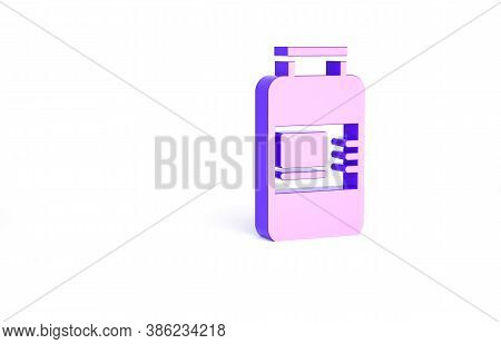 Purple Collagen Serum And Vitamin Icon Isolated On White Background. Facial Treatment Essence Skin C
