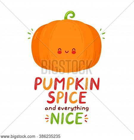 Cute Happy Funny Pumpkin. Isolated On White Background. Vector Cartoon Character Hand Drawn Style Il