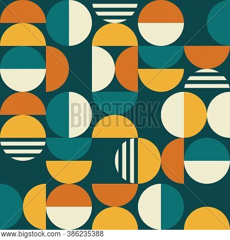Geometric Mid-century Modern Vector Seamless Pattern - 60's And 70's Minimalist Textile Design With