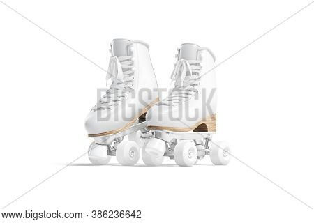 Blank White Roller Skates With Wheels Mockup Pair On Tiptoe, 3d Rendering. Empty Vintage Leather Sho