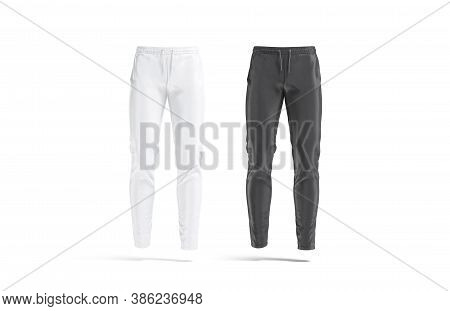 Blank Black And White Sport Pants Mock Up, Front View, 3d Rendering. Empty Fabric Slacks Or Pantaloo