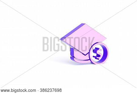 Purple Graduation Cap And Coin Icon Isolated On White Background. Education And Money. Concept Of Sc