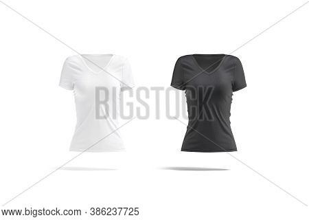 Blank Black And White Women Slim-fit T-shirt Mockup, Isolated, 3d Rendering. Empty Undervest Casual