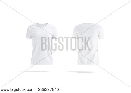 Blank White Women T-shirt Mockup, Front And Back View, 3d Rendering. Empty Casual Tshirt Model For D