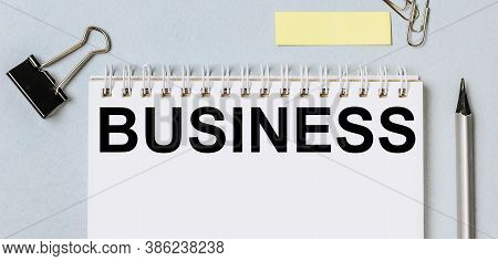 Business. Flat Layout Of Office Workplace With Stationery. Blank Stickers With Place For Text, Penci