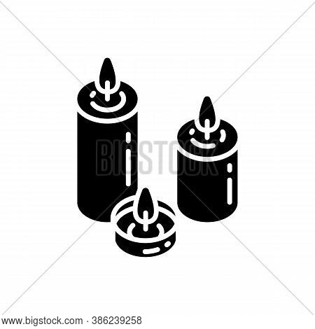 Candlelight Black Glyph Icon. Atmosphere Changing. Hygge Element. Romantic Mood. Silhouette Symbol O