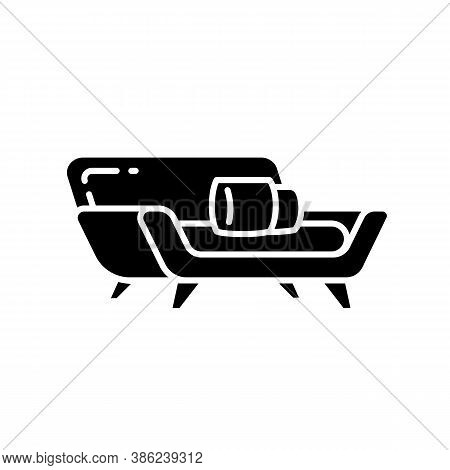 Comfortable Couch Black Glyph Icon. Contemporary Living Room Furniture. Modern Seating. Silhouette S