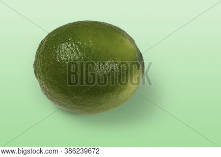 Tahitian Lemon Whole On Light Green Background