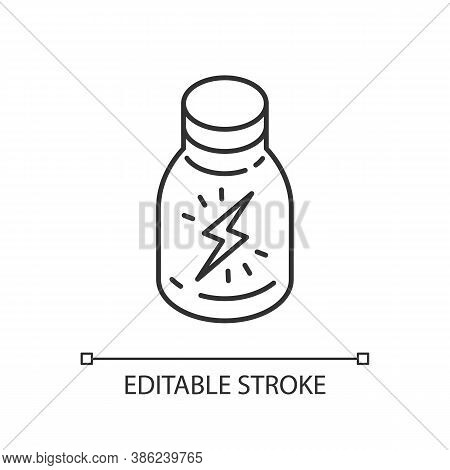 Energy Shot Linear Icon. Caffeinated Beverage. Drink For Stamina. Booze In Glass Bottle. Thin Line C