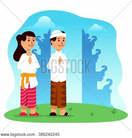 Couple Character In Front Of Gate Of Bali Hindu Temple Vector Illustration. Suitable For Hinduism Th