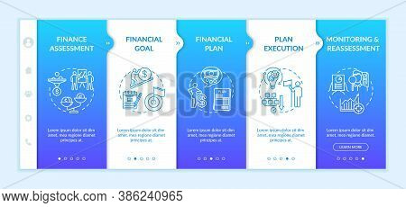 Financial Planning Process Onboarding Vector Template. Money Assessment. Earnings Plan. Monitoring.