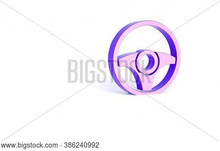 Purple Steering Wheel Icon Isolated On White Background. Car Wheel Icon. Minimalism Concept. 3d Illu