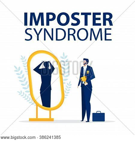 Imposter Syndrome.businessman Standing With Mirror And Seeing Themselves As Shadow Behind. Anxiety A