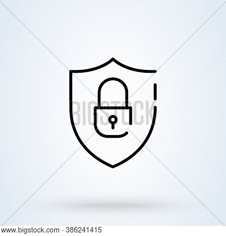 Security Shield Sign Icon Or Logo. Cyber Security And Network Protection Concept. Lock Security Vect
