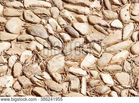 Seamless Pattern With Old Stone Pavement. Architecture Detail Of Ancient Mediterrain Abbey.