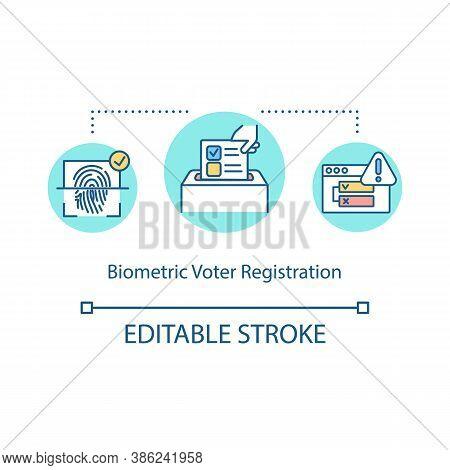 Biometric Voter Registration Concept Icon. Scanning Fingerprint. Online Authentication Security Syst