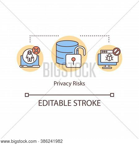 Privacy Risks Concept Icon. Access Database, Data Protection. Violation Cyber Safety System Idea Thi