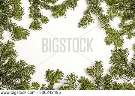 Christmas Green Framework Isolated On White Background. Green Christmas Fir Tree Branches With Copy