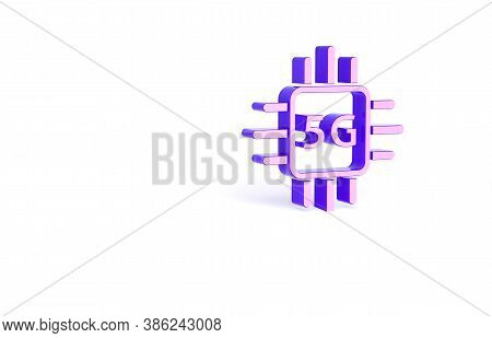 Purple Computer Processor 5g With Microcircuits Cpu Icon Isolated On White Background. Chip Or Cpu W