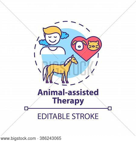 Animal-assisted Therapy Concept Icon. Treatment Session Idea Thin Line Illustration. Pet Therapy. In