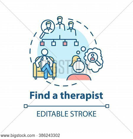 Find Therapist Concept Icon. Search For Psychologist Idea Thin Line Illustration. Psychological Coun