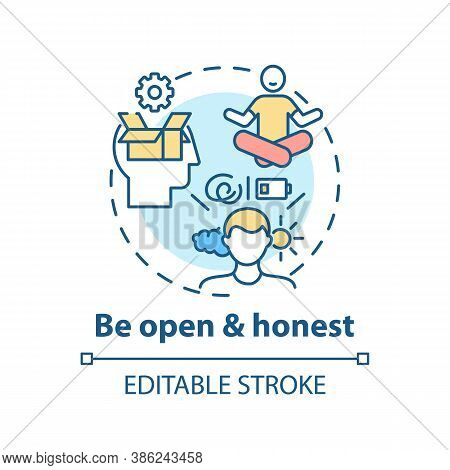 Be Open And Honest Concept Icon. Self-worth Sense Idea Thin Line Illustration. Mutual Understanding.