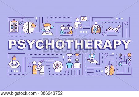 Psychotherapy Word Concepts Banner. Psychological Counseling, Psychoanalysis Infographics With Linea