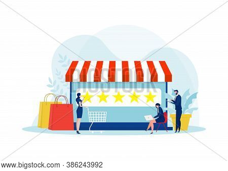 Woman Looking  Stare For Up Level For Shopping Online. 5 Star Rating Of The Online Store.